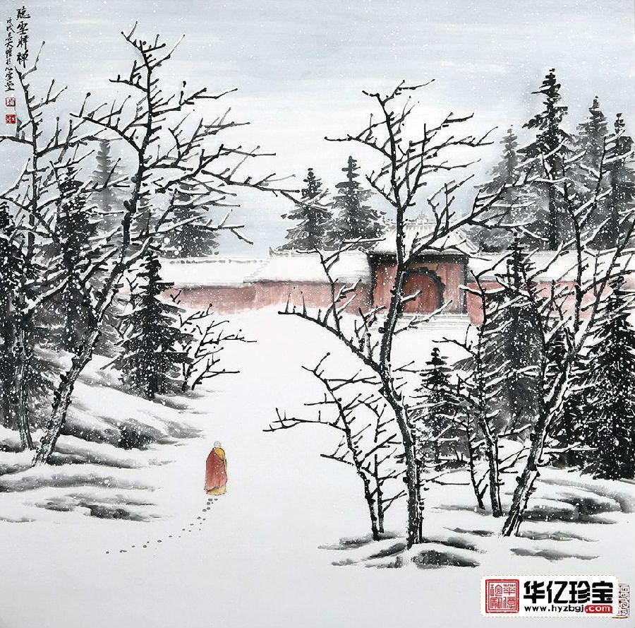 吴大恺最新力作雪景山水画斗方《听雪释禅》图片